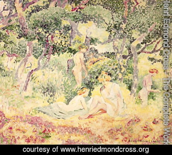 Henri Edmond Cross - Nudes in a Wood, 1905