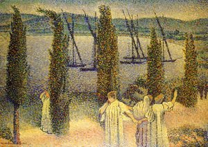 Henri Edmond Cross - Coastal View with Cypress Trees, 1896