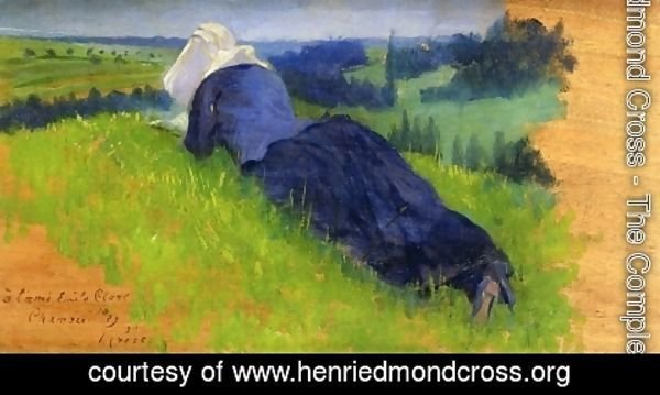 Henri Edmond Cross - Peasant Woman Stretched out on the Grass
